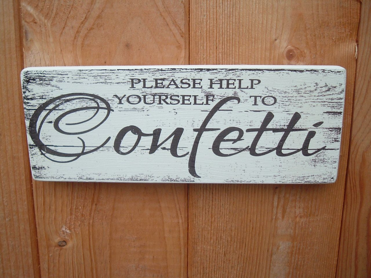 Shabby Chic Distressed Vintage Confetti Wedding Sign Plaque Wowthankyou Co Uk