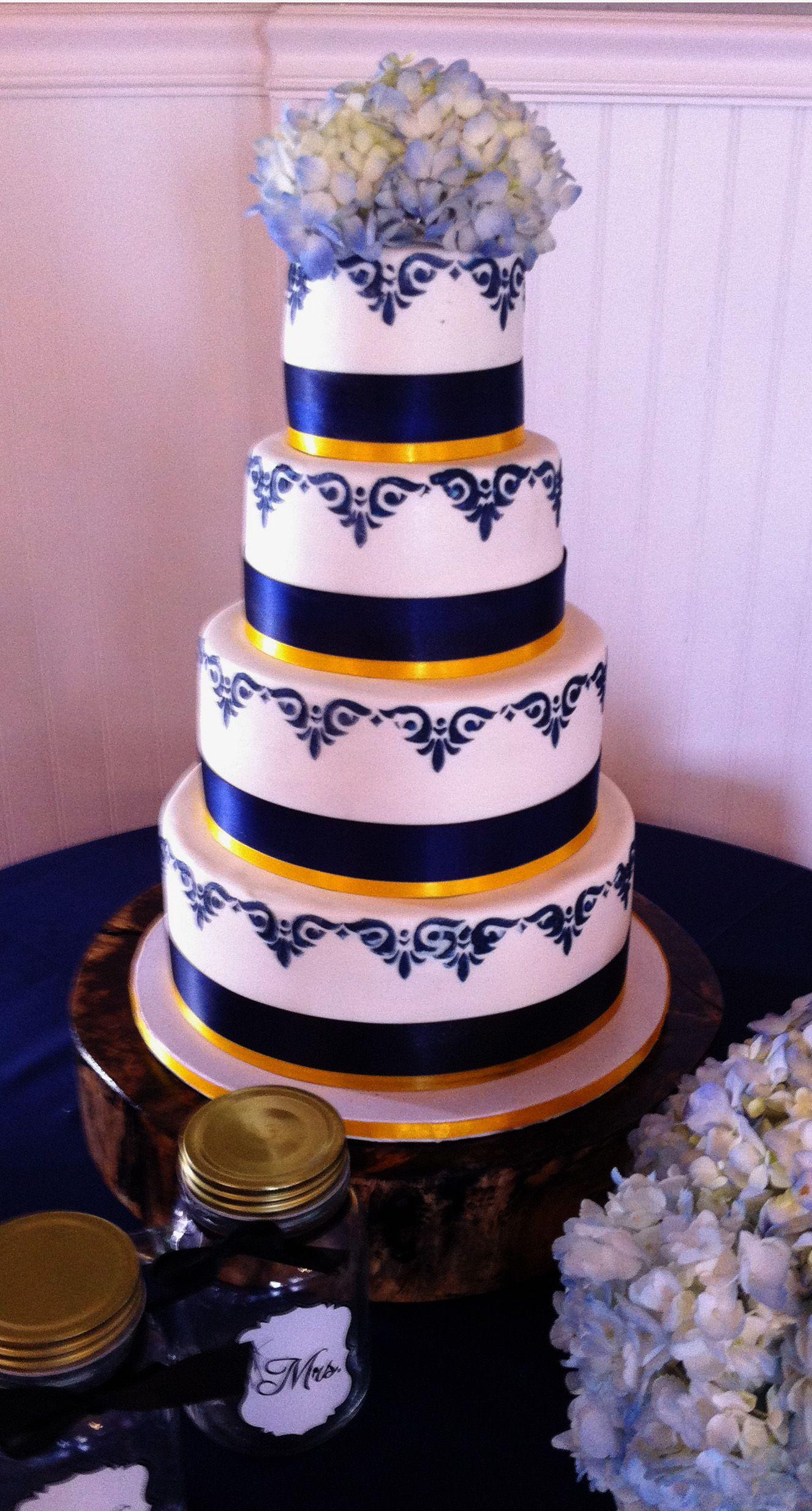 Navy blue buttercream stencil applied over fondant covered cake.  Simple, yet elegant. #blissmcdonough #blisscakes