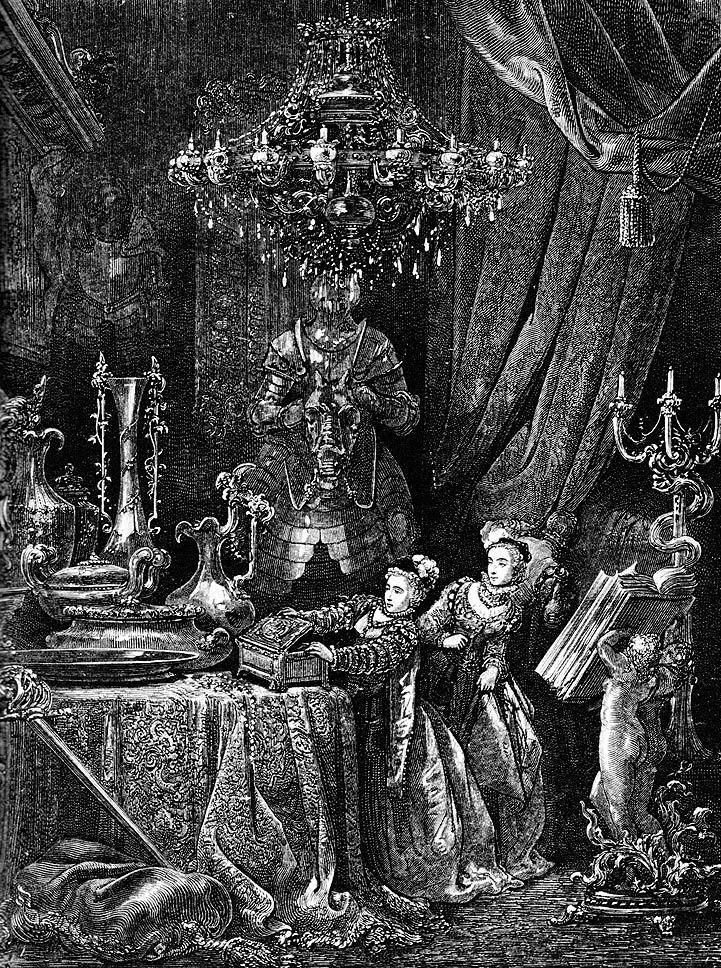 Gustave Doré: Suas amigas logo vieram para admirar o esplendor de sua casa (Barba Azul)