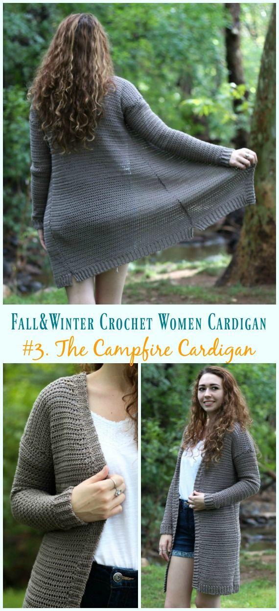 Fall & Winter Women Cardigan Free Crochet Patterns #crochetsweaterpatternwomen