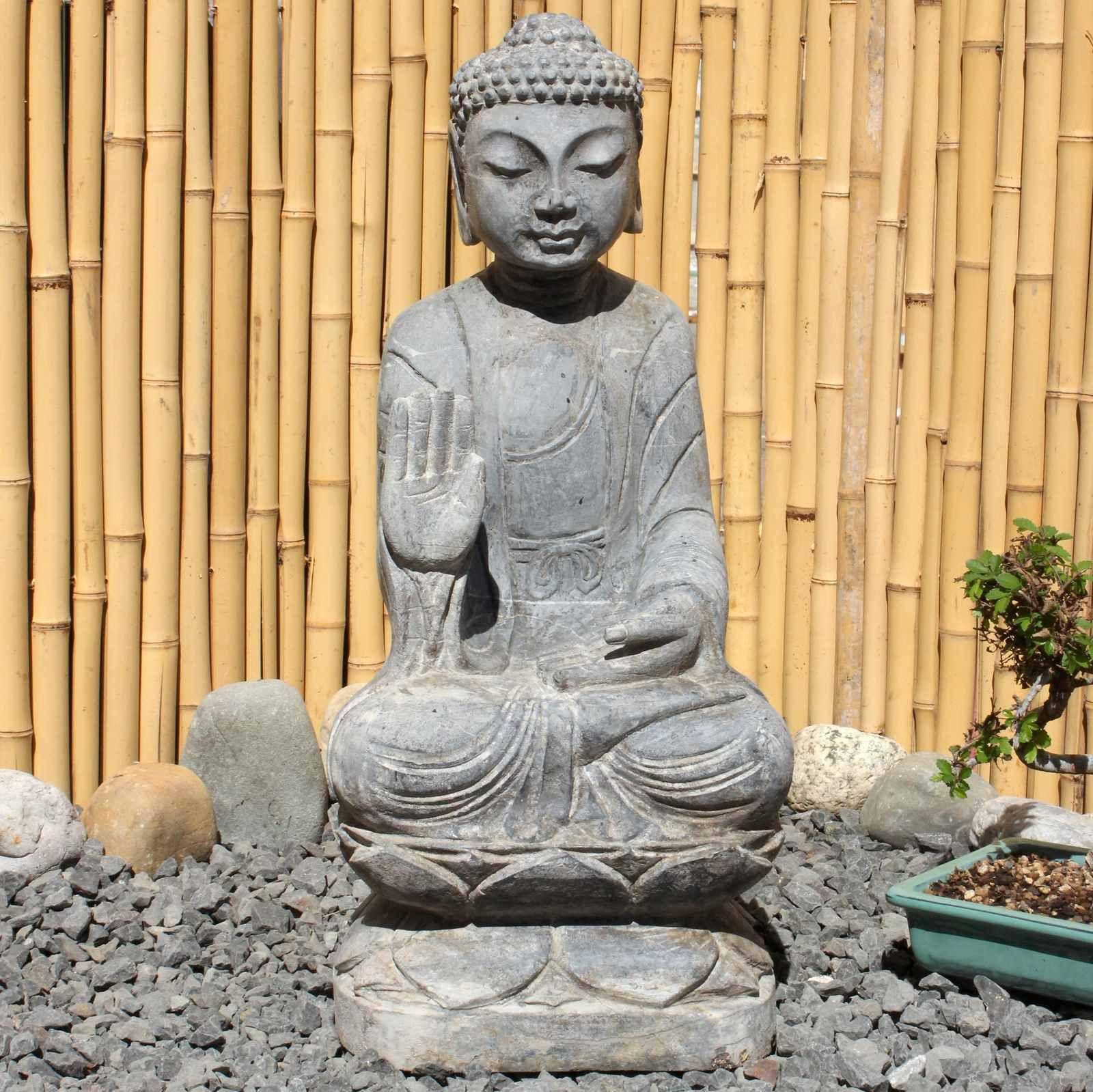 Amoghasiddhi Buddha 54cm Naturstein Garten Statue Buddha Figur Statue Buddha