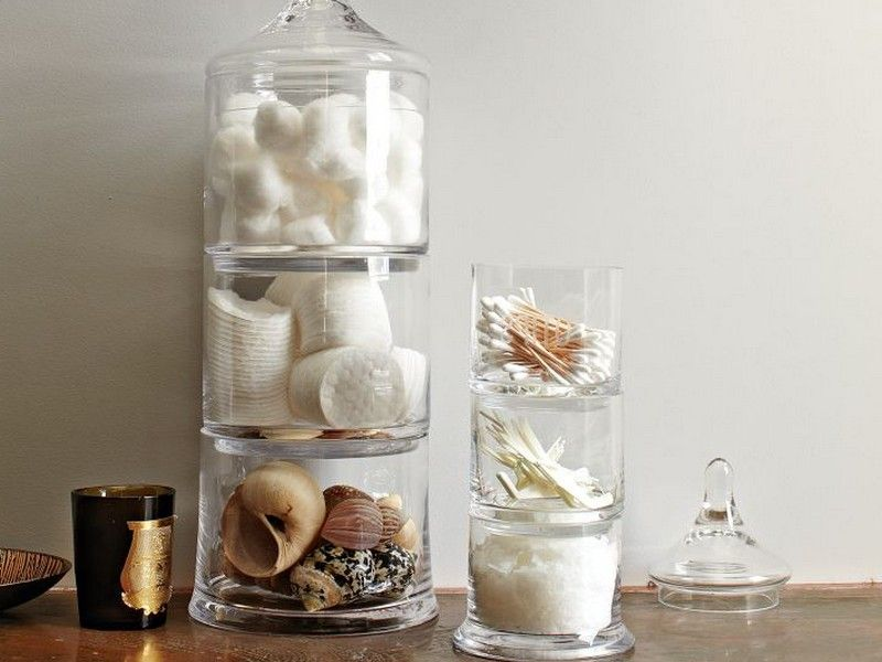 Home Glass Apothecary Jars Bathroom Decorating With Driven Decor