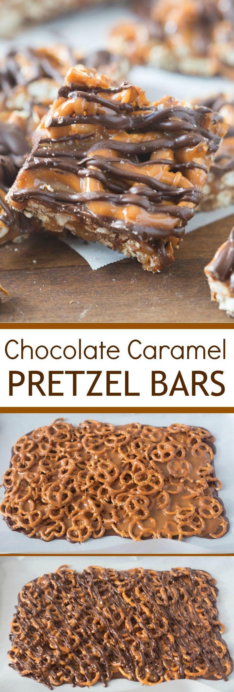 Salted Chocolate and Caramel Pretzel Bars - These simple, 4-ingredient Salted Chocolate Caramel Pr