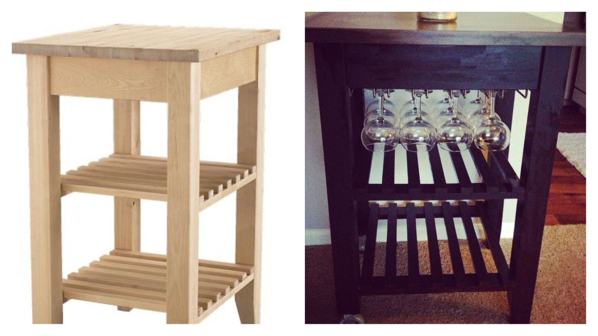 Ikea Bekvam Kitchen Cart Into Wine Rack Just Added A Plywood Piece Under The Top And Connected An Hanging From