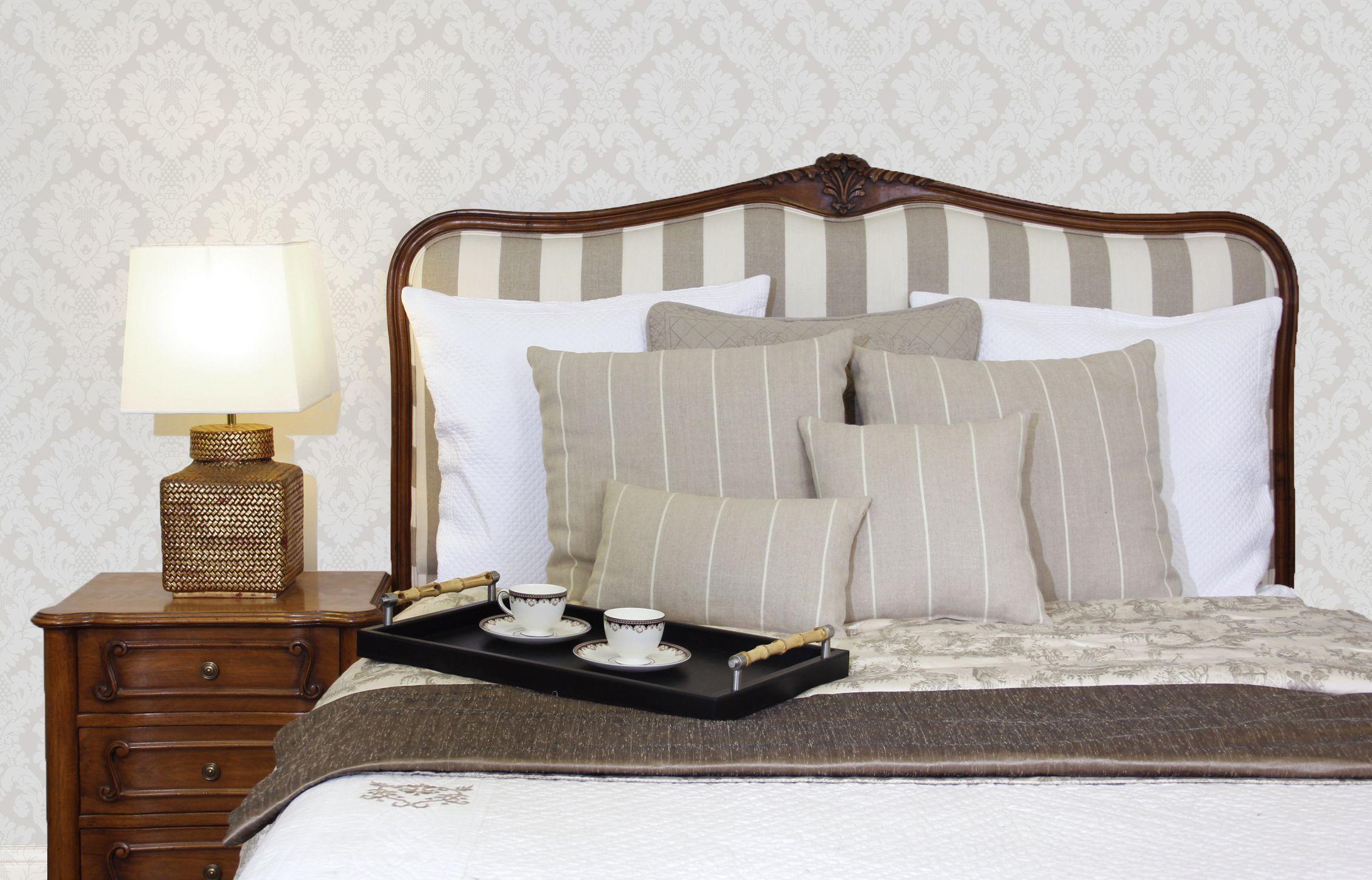 The Portia upholstered headboard custom made from bedhead design. Hand carved European beach frame www.bedheaddesign.com.au
