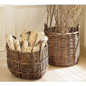 Beside Fireplace For Looks Decor Wood Storage Basket