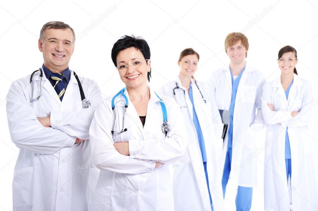 Happy smiling doctors in hospital gowns Stock Photo ,