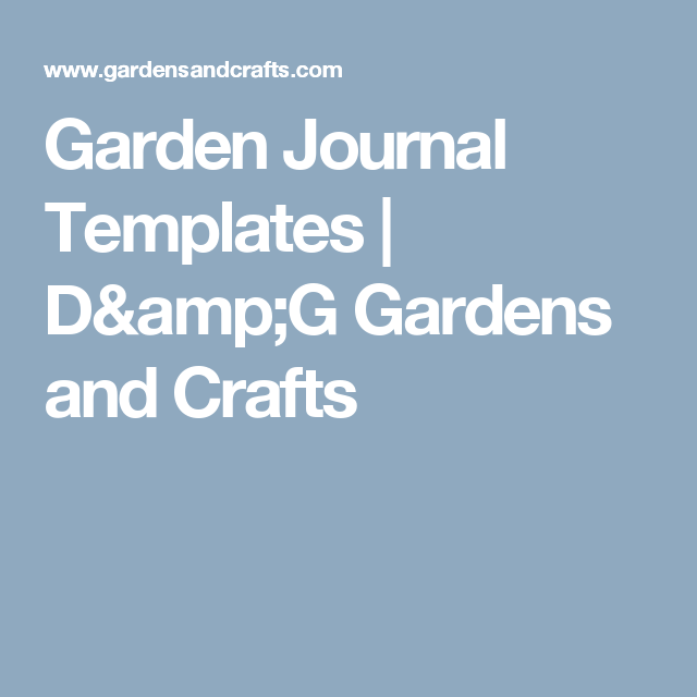 Garden Journal Templates   D&G Gardens and Crafts   Gardening ...