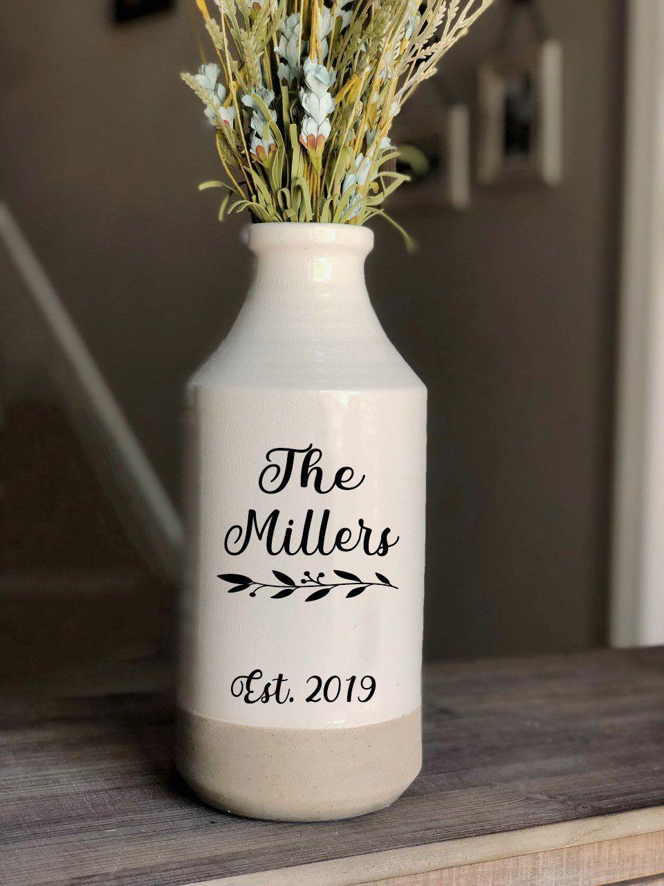 Custom Farmhouse milk jug vase wedding gift rustic decor