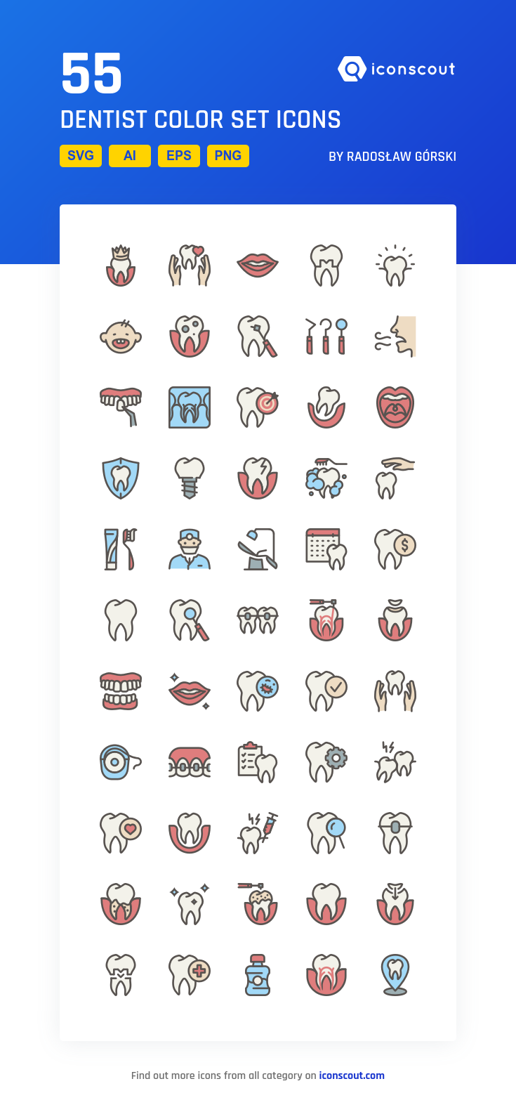 334282748 Dentist Color Set Icon Pack - 55 Filled Outline Icons