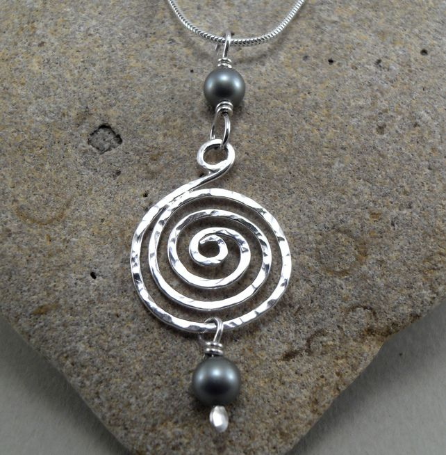 094a743efe1a1 Sterling Silver Spiral Pendant with Green Swarovski Pearl Beads ...