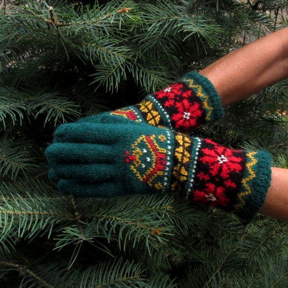 Green Fair Isle Alpen Embroidered Wool Gloves by Dom by domklary ...