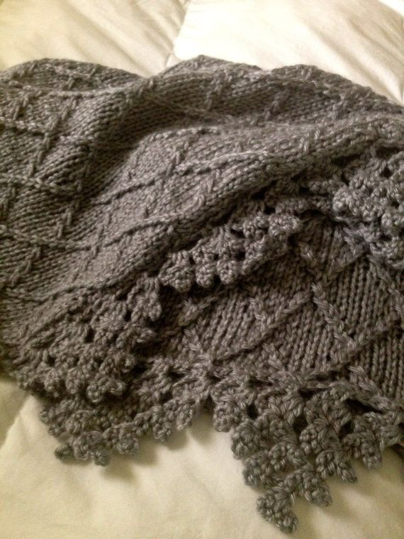Knitting Pattern For Blanket Border : Hand knit baby blanket in diamond pattern with crocheted border -Heather Gray...