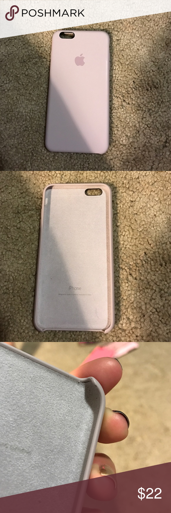 61fc3b7aa21 Silicon Apple brand iPhone 6 Plus case Lavender Apple silicone case. Only  one flaw (see last picture) the inside corner of the case has a blemish.