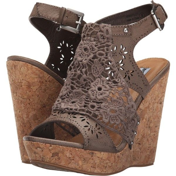 Not Rated Candace (Taupe) Women's Wedge Shoes ($41) ❤ liked on Polyvore featuring shoes, sandals, taupe, lace wedge shoes, open toe wedge sandals, wedge heel sandals, open toe platform sandals and platform sandals