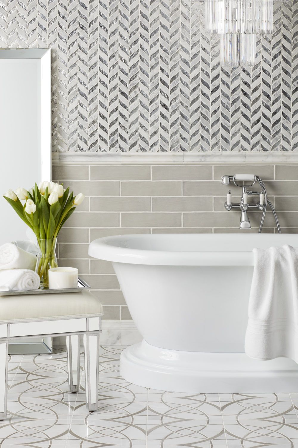 Distinct Designs With Waterjet Mosaics The Tile Shop Blog The Tile Shop Mosaic Bathroom Tile Marble Showers