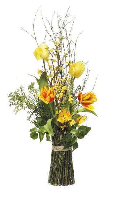 Forsythia willow branches tulips centerpiece reception for Floral arrangements with branches