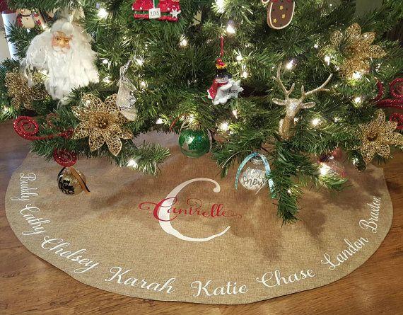 Burlap Christmas Tree Skirt Personalized Personalized Burlap Christmas Tree Christmas Tree Skirt Burlap Christmas