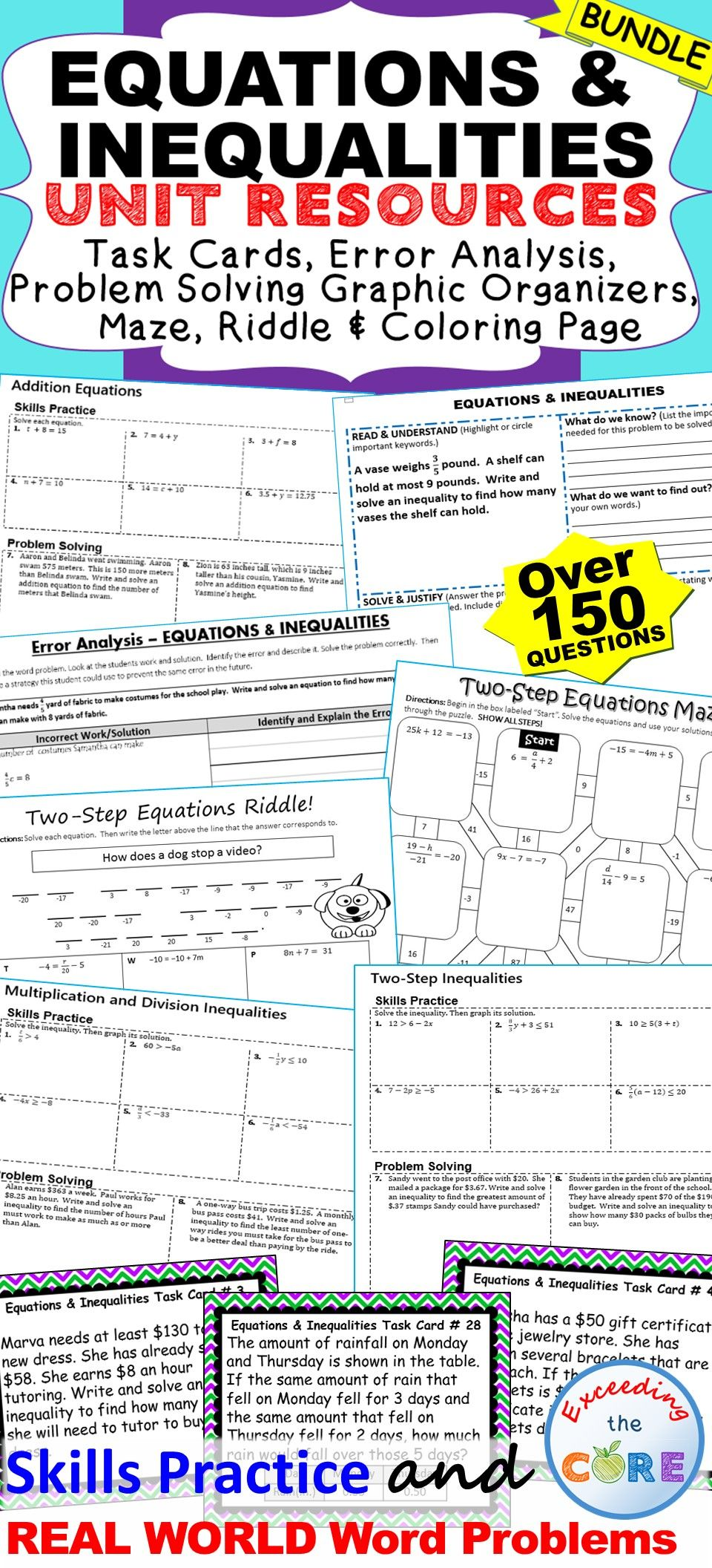 Equations Inequalities Unit Resource Bundle Includes 40 Task Cards 10 Error Analysis Activities 10 Problem Solving Grap Task Cards Error Analysis Equations
