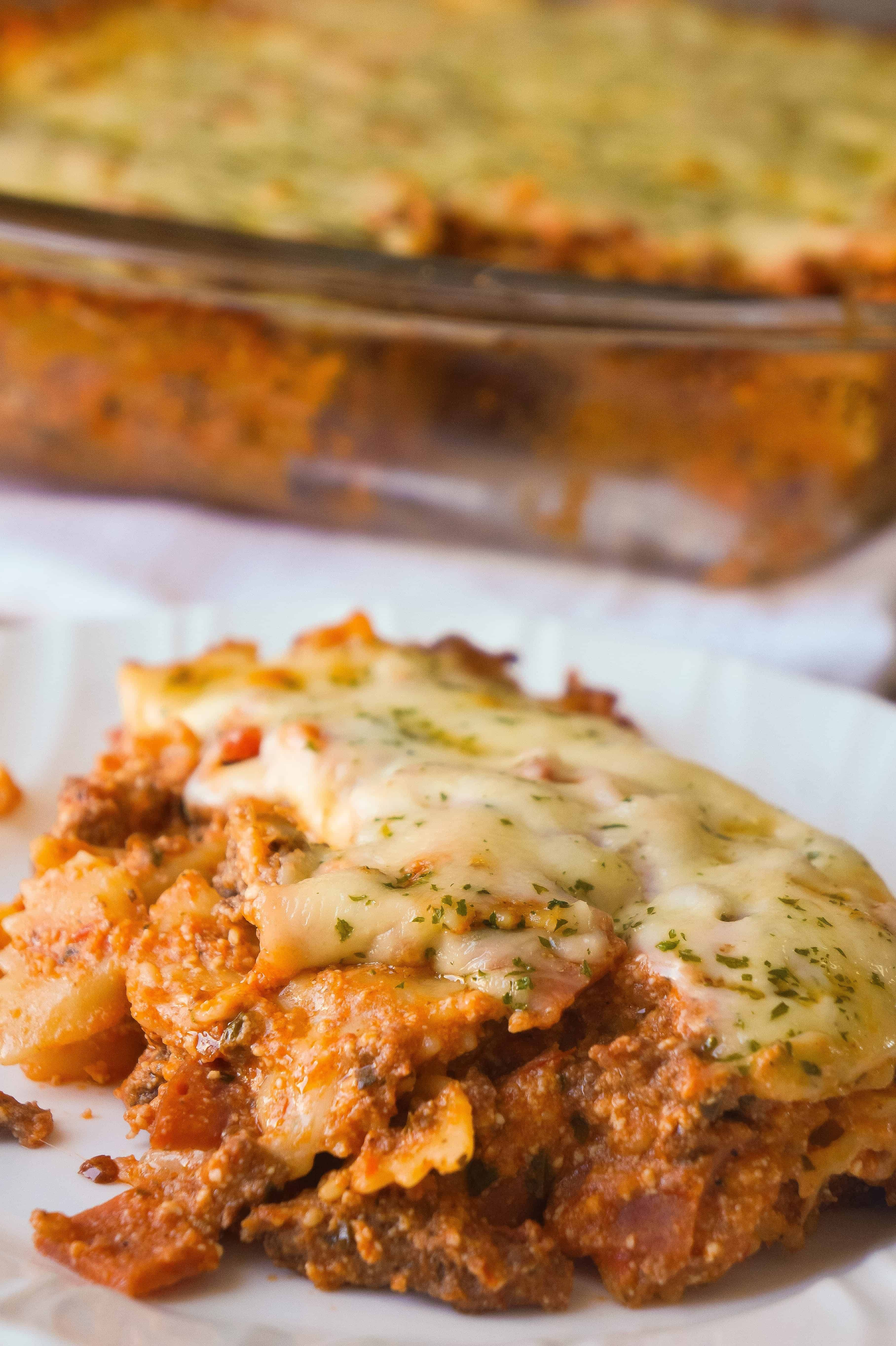 Three Meat Lasagna Casserole Is An Easy Dinner Recipe Loaded With Ground Beef Pepperoni Bacon And Cheese Th Meat Lasagna Lasagna Casserole Easy Pasta Dinner