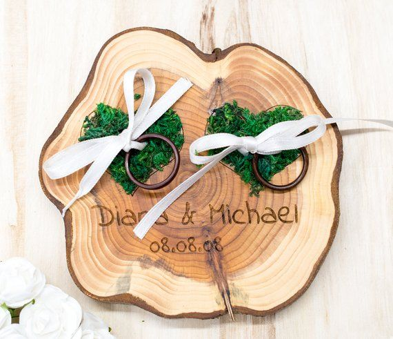 Wedding Ring Bearer Wooden Ring Pillow Tree Slice Moss Hearts