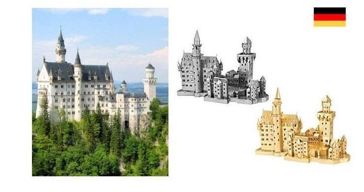 3D Metallic DIY Puzzle Stainless Gold Silver Germany Neuschwanstein Castle | eBay