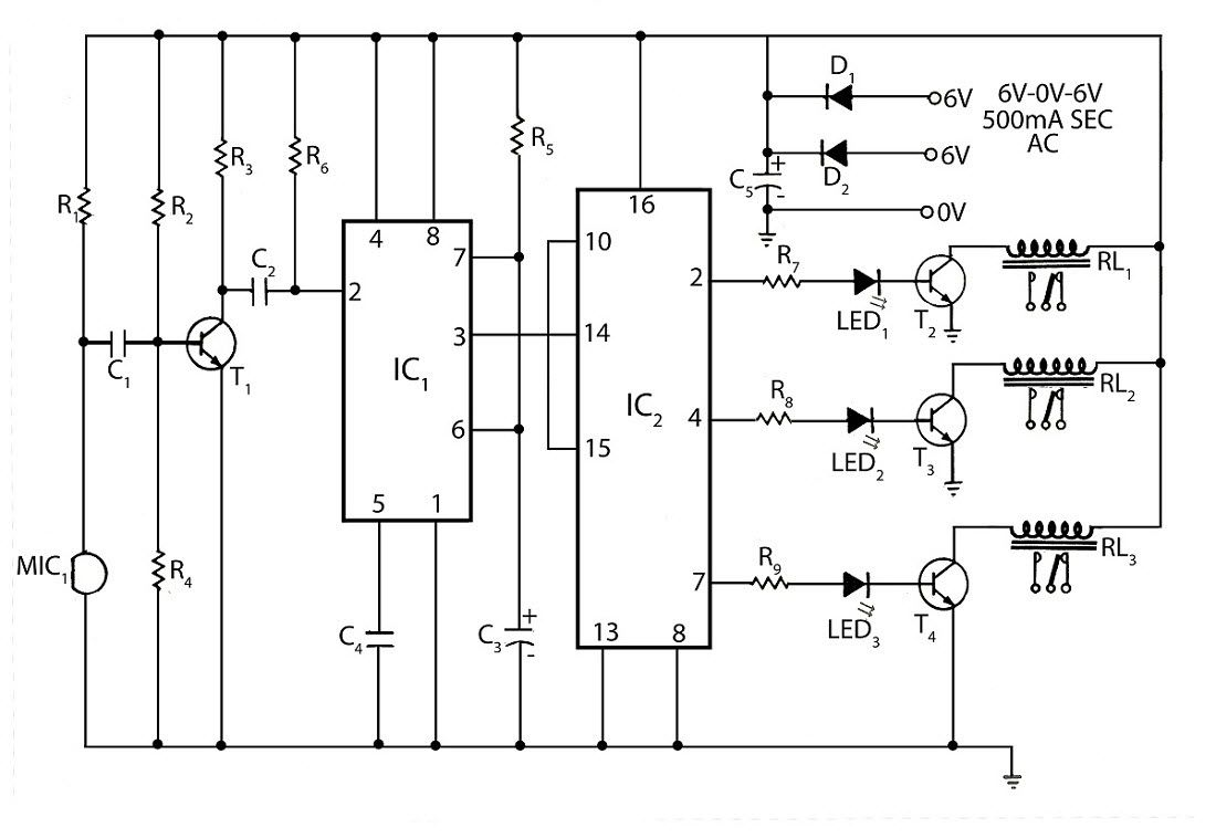 Circuit Diagram Of Clap Operated Remote Fan Switch Electronics Led Chaser