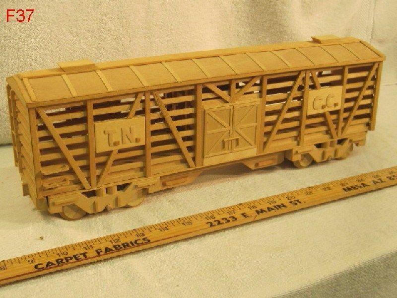 Vintage Balsa Wood Railroad Train Car Model Folk Art Hand Made Piece