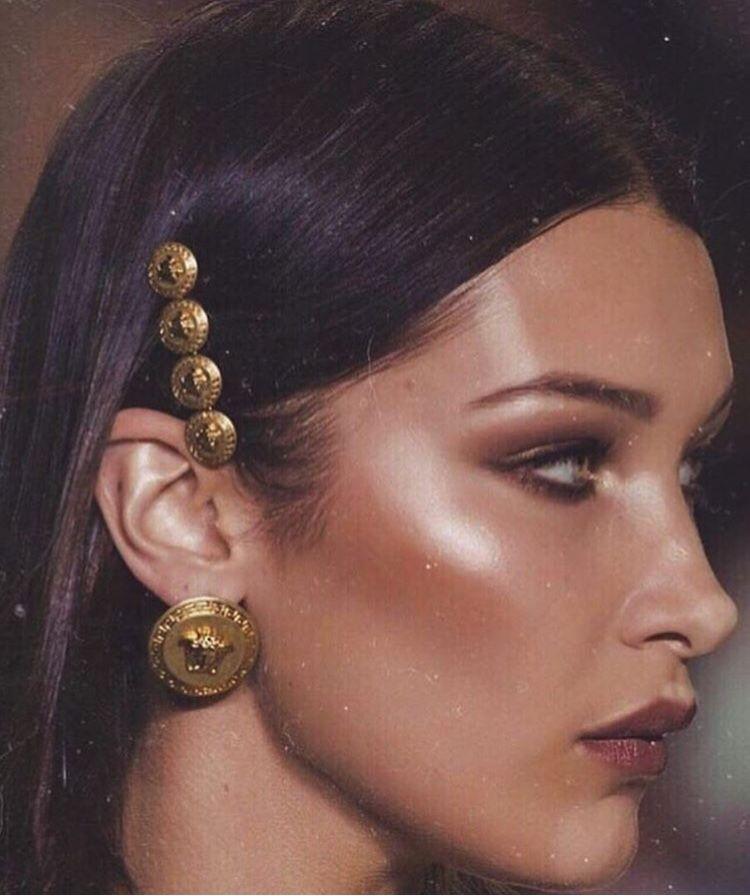 90823d20 BELLA HADID   big statement metal jewelry   oversized earring   hair ...