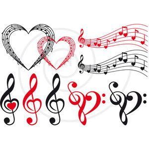 Corazon Con Notas Musicales Buscar Con Google Digital Clip Art