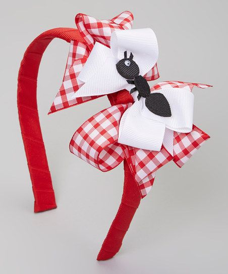 Picture Perfect Hair Bows Red & White Ant Bow Headband | zulily