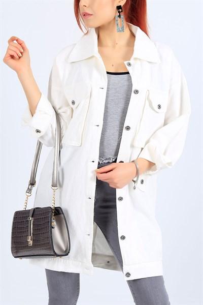 79 95 Tl Beyaz Gabardin Uzun Yazlik Bayan Ceket 27100b Modamizbir 2020 Moda Moda Stilleri Mankenler