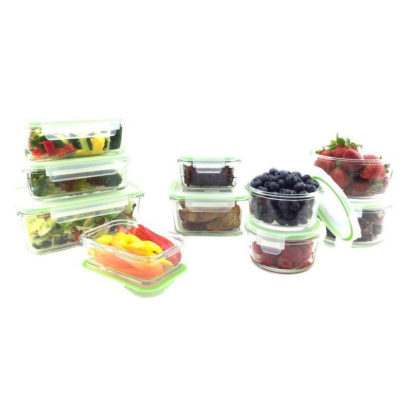 Kinetic Go Green Glassworks 20 Piece Oven Safe Glass Food Storage