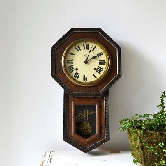 Vintage Regulator Wall Clock School House Rustic