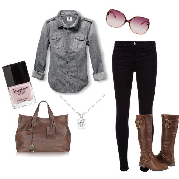 denim shirt, black jeans