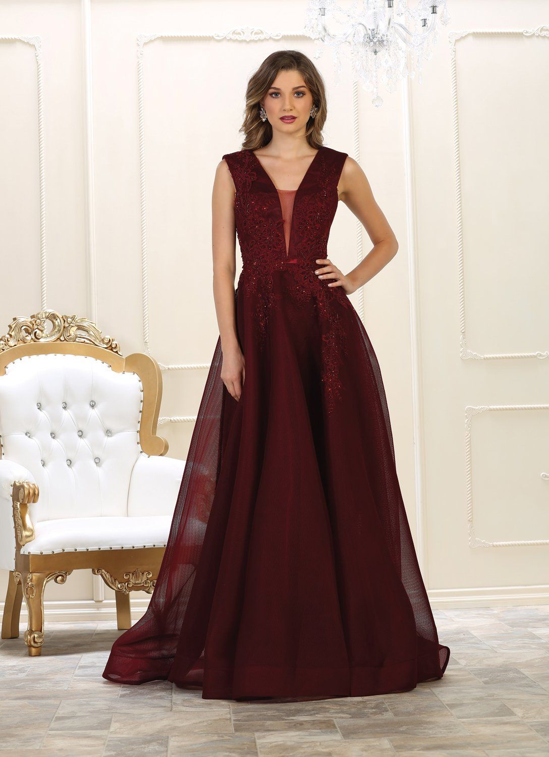 Evening long prom dress ball gown v neck wedding dresses