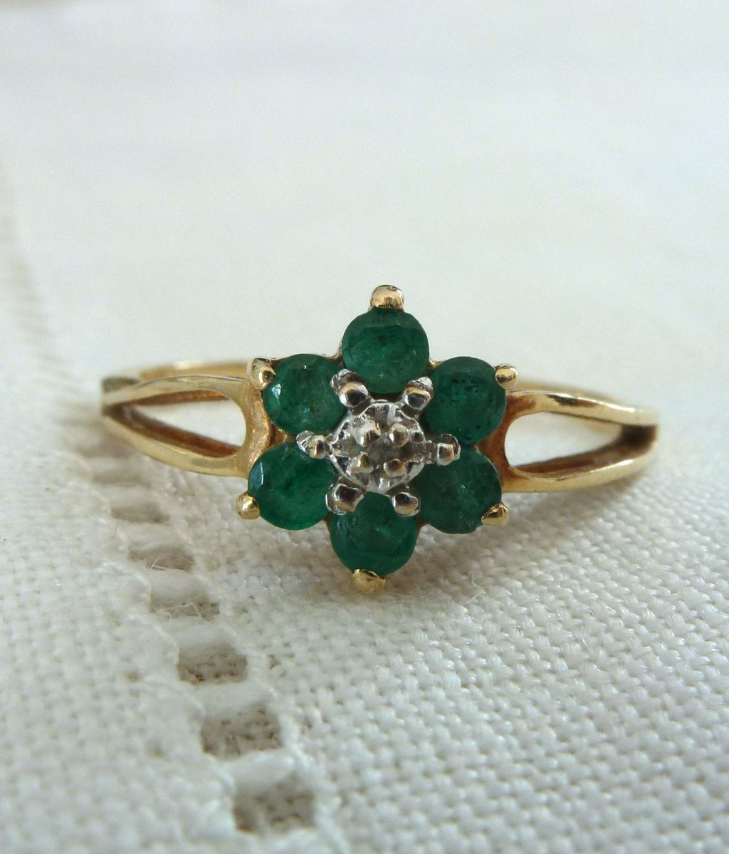 A Natural Emerald and Diamond Flower Ring in 14kt Yellow Gold - Clover from  romancevintagejewels on Ruby Lane