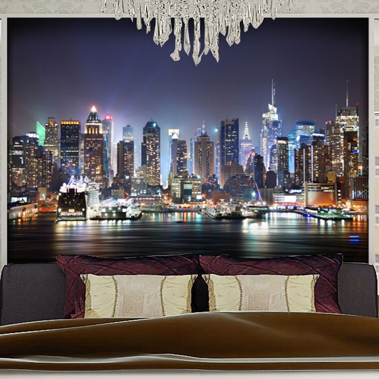 Custom Photo 3d Stereoscopic City Lights Mural Wallpaper Bedroom