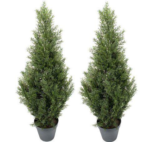 TWO Pre-potted 3' Artificial Cedar Topiary Outdoor Indoor Tree $78.68