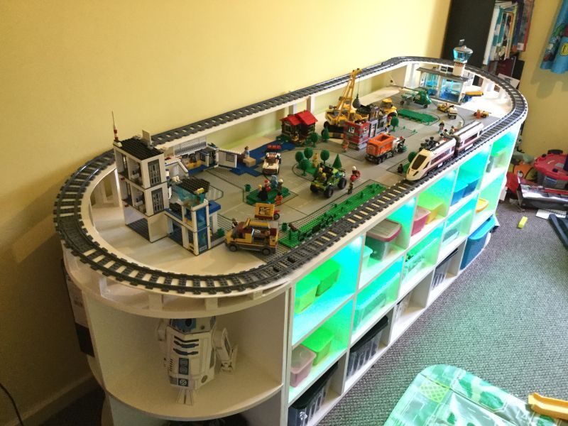 DIY Lego Table with Train Track and Storage Space for Toys is part of Playroom Organization With Train Table - Recently, Imgur user [Pwgmyk] has shared a fun project, demonstrating how a DIY Lego Table can be ma