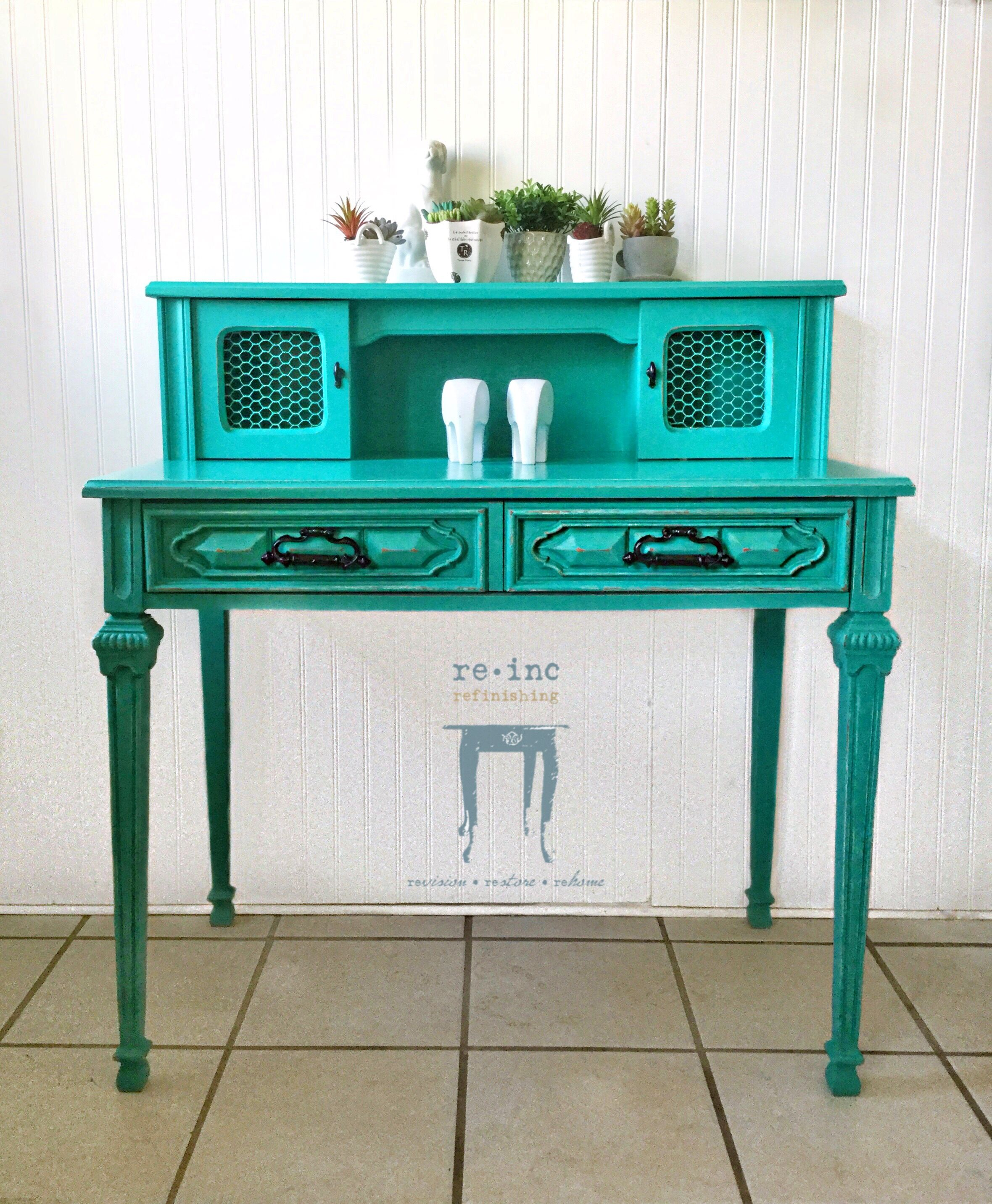 Turquoise Desk Turquoise Desk Painted Furniture Furniture Making