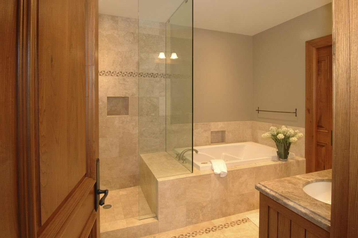 . Separate Shower And Tub With Glass Dividing Wall   Interior Design