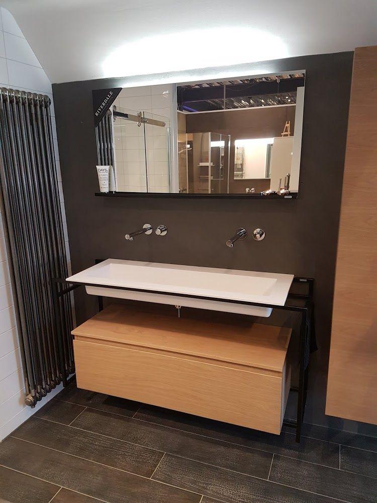 Stoer industrieel badkamer meubel Zwart stalen frame. Riverdale ...