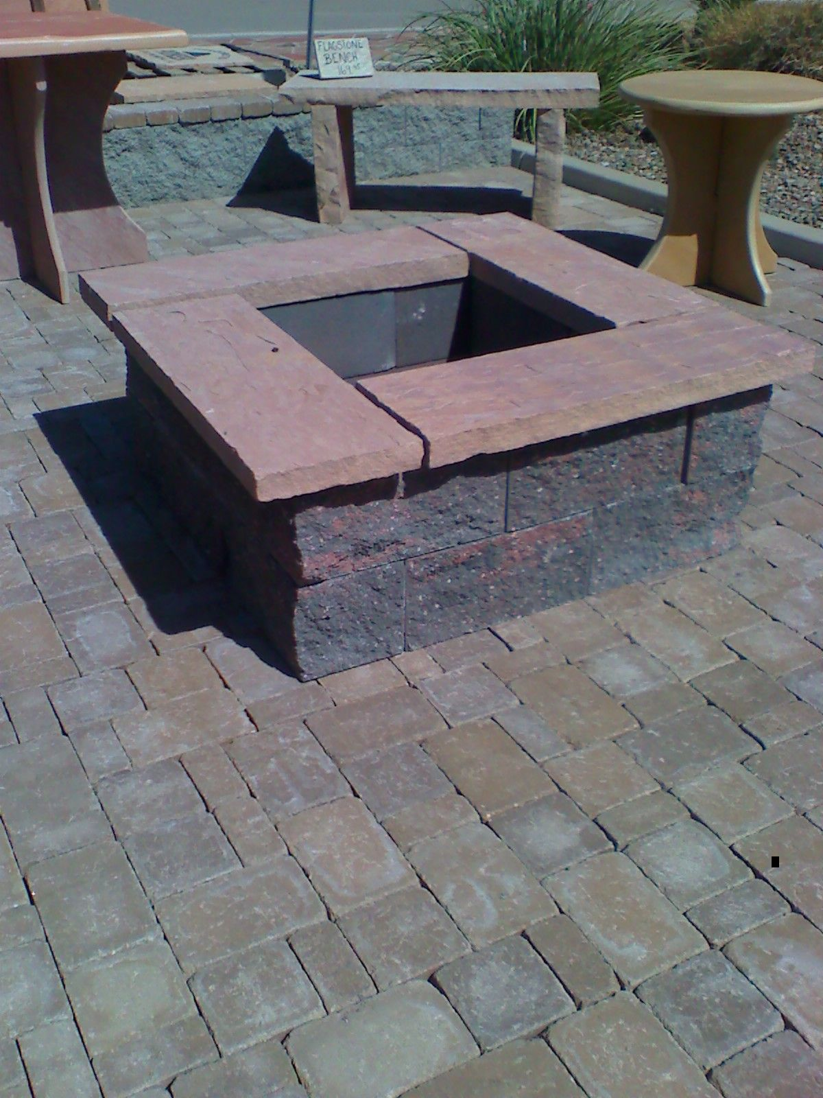 Square fire pit designs landscaping pavers phoenix for Gravel around fire pit