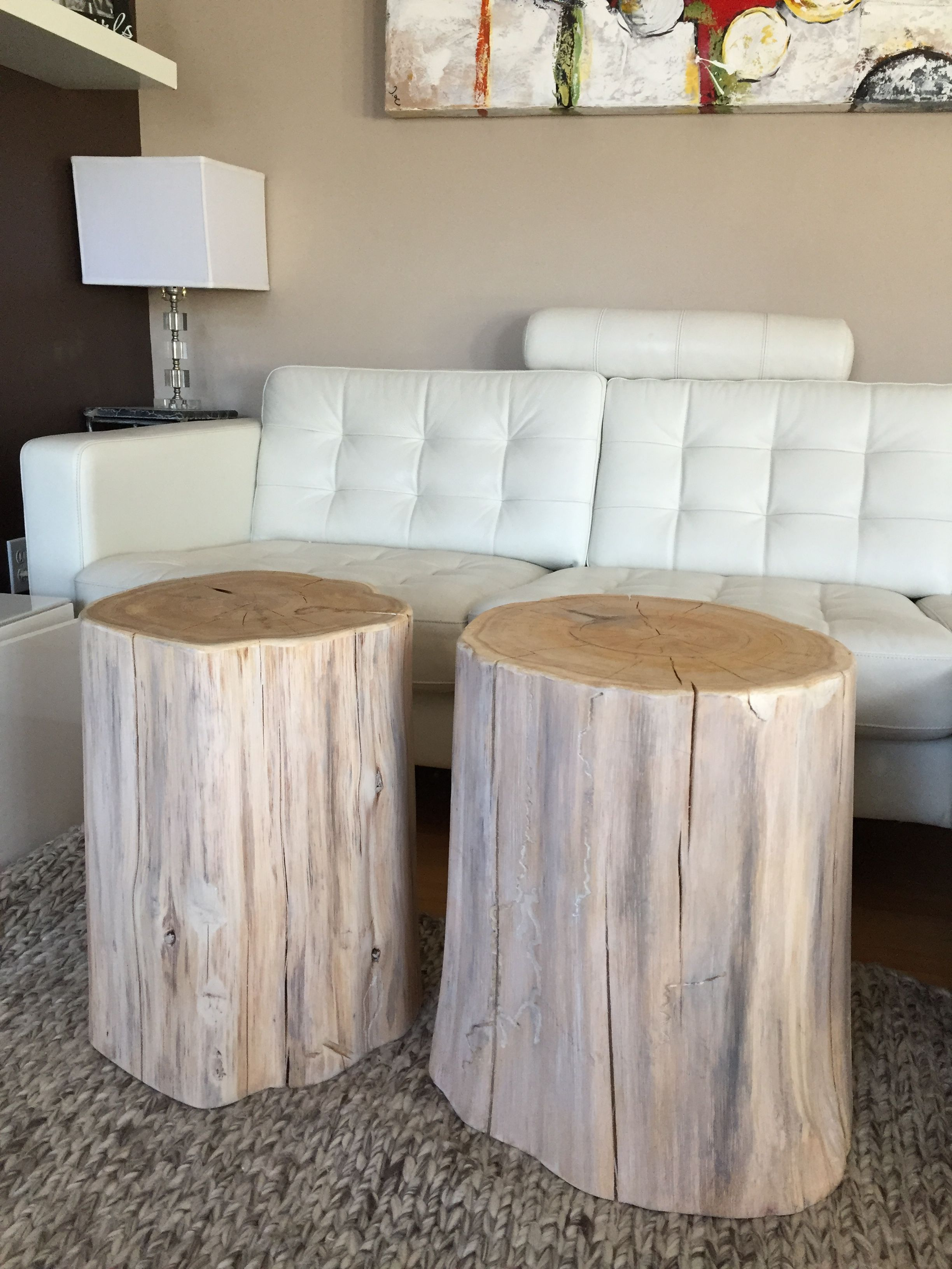 White Stumps Tables Whitewashed Stump Side Table Log Tables