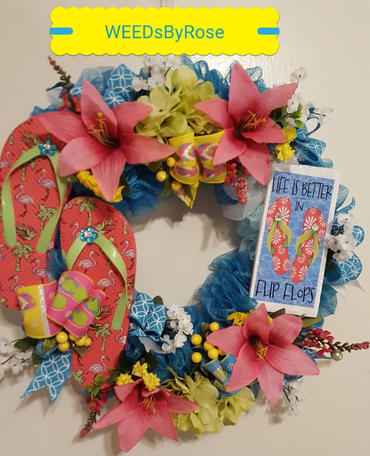 Flip Flop Wreath, *Free Shipping* Summer Wreath, Summer Door Wreath