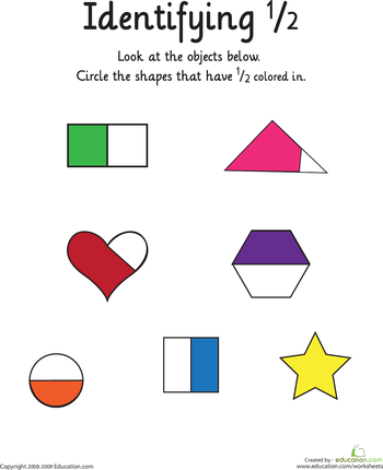 Identifying The Fraction 1 2 Worksheet Education Com Fractions Worksheets Math Fractions Fractions