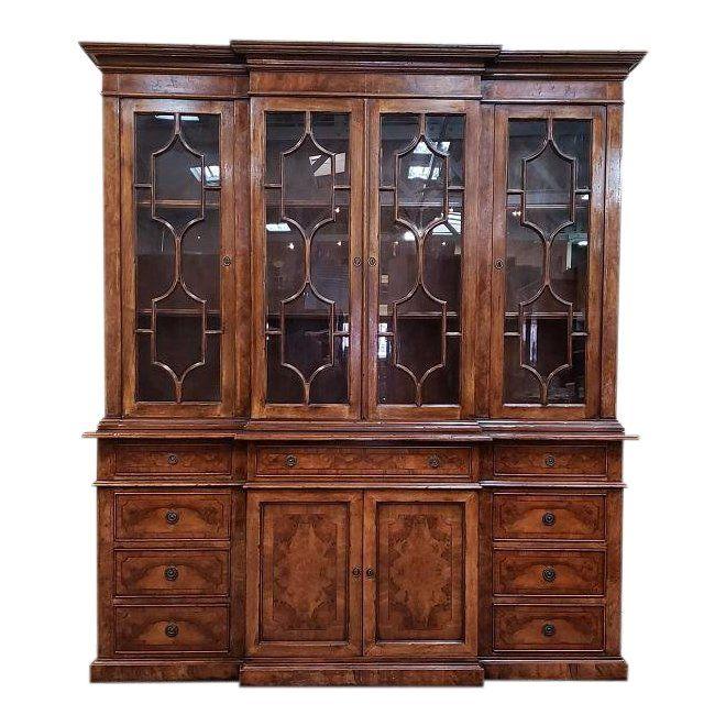 20th Century English Traditional Glazed Walnut Breakfront Cabinet