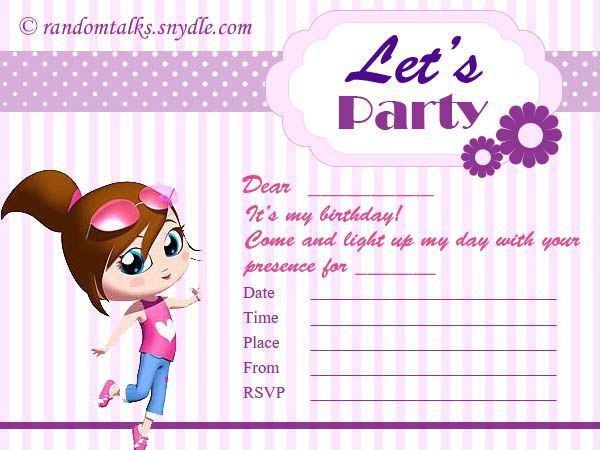 Free Printable Birthday Invitations   Random Talks 1027 Jalan   Free Birthday  Invitations To Print  Print Out Birthday Invitations