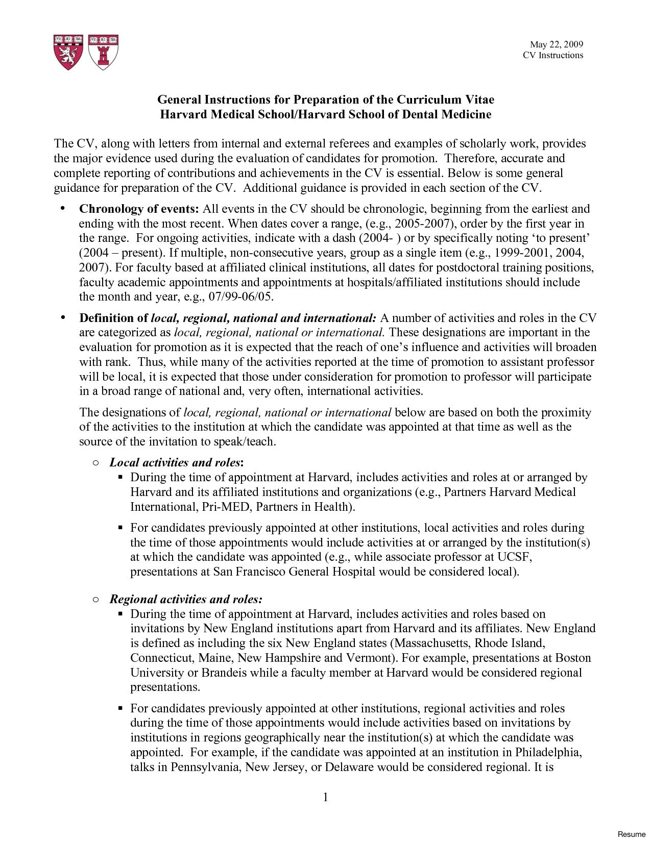 harvard university resume